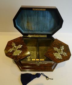 Rare & Grand Antique English Tea Caddy by Asser & Sherwin, London c.1860 from puckerings on Ruby Lane 'the inside'