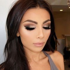 smokey eye with a hint of gold shimmer and nude lip