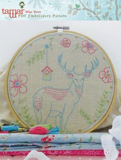 Embroidery Pattern, Instant Download - Blue Deer