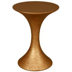 Large French Modern Gilded Hammered Resin Round Side or End Table | From a unique collection of antique and modern side tables at https://www.1stdibs.com/furniture/tables/side-tables/
