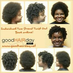 Natural Hair Style,  Two Strand Twists  Relaxed Styles, Natural Styles, Keratin Treatments, Custom Color, Precision Cuts, Book online!  www.goodhairday.net