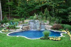 Comfortable Small Backyard Swimming Pool in Rectangular Design: Amazing Small Backyard Swimming Pool False Waterfall Green Lawn ~ sabpa.com Pool