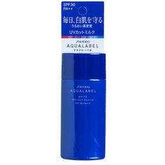 Kem chống nắng Nhật Shiseido Aqualabel White protect milk xanh UV SPF30 PA++ với thành phần gồm Sodium hyaluronate acetyl hóa, hyaluronic acid Na. làm trắng da, ngăn ngừa đốm và tàn nhang do cháy nắng, cung cấp độ ẩm và nuôi dưỡng da, vừa dưỡng da- chống nắng- vừa làm kem lót dành cho da dầu và da hỗn hợp