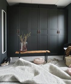 built-in floor to ceiling wardrobes painted the same dark color as walls // fort & field Wardrobe Wall, Bedroom Built In Wardrobe, Wardrobe Furniture, Home Furniture, Furniture Design, Bedroom Furniture, Home Bedroom, Room Decor Bedroom, Floor To Ceiling Wardrobes
