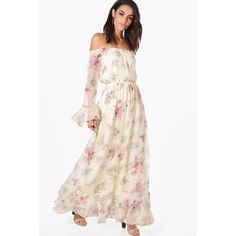 Boohoo Dahlia Floral Ruffle Hem Maxi Dress (585.330 IDR) ❤ liked on Polyvore featuring dresses, bodycon maxi dress, white midi dress, white bodycon dresses, floral maxi dress and white cami