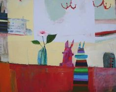 "Wendeline S. Matson     Bunnies and Machines , 2010  Acrylic on Canvas Acrylic on Canvas  48"" x 60"""