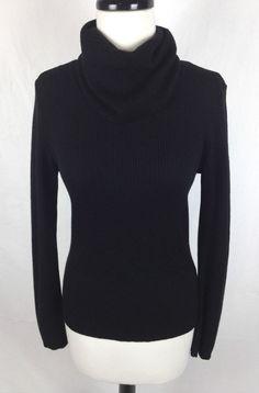 J Crew Sweater Womens Black Wool Long Sleeve Turtleneck M #JCrew #TurtleneckMock