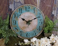 Shabby Paris Chic Wooden Clock Home Decor - Blue