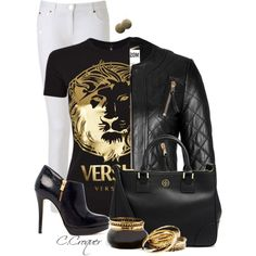 Versace Tshirt by ccroquer on Polyvore featuring Versus, Moschino, MICHAEL Michael Kors and Tory Burch
