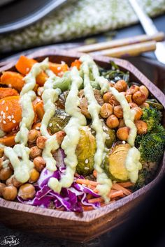 Roasted Vegetable Buddha Bowls make the perfect healthy meal. #MedicalMedium Option- Leave out the edamame. This bowl can include a variety of veggies you have on-hand. Easy and delicous!