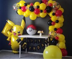 Our balloon garland kit will help make your party the talk of the town! do it yourself, we provide everything you need to create a beautiful backdrop for your celebration. This kit is ideal for Pokemon and Pikachu themed parties! Pokemon Party Decorations, Balloon Decorations, Birthday Party Decorations, Balloon Ideas, Pokemon Themed Party, Pokemon Birthday Cake, Festa Pokemon Go, Pokemon Pokemon, Pokemon Cake Pops