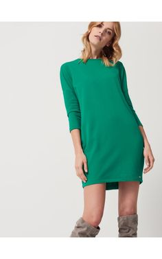 Knitted dress with fitted sleeve, DRESSES, green, MOHITO
