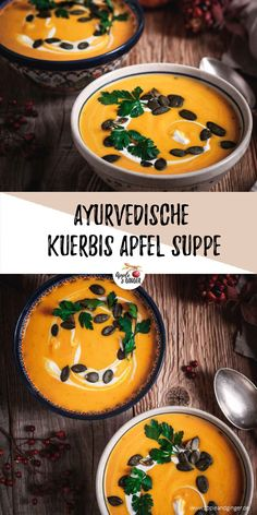Ayurvedische Kürbis-Apfel-Suppe Ayurvedic pumpkin and apple soup for cold autumn evenings. Reduces Vata and helps us prevent colds. Salad Recipes Healthy Lunch, Salad Recipes For Dinner, Chicken Salad Recipes, Easy Healthy Recipes, Salads For A Crowd, Easy Salads, Food For A Crowd, Apple Soup, Pumpkin Soup