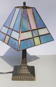 Mini Mission Style Lamp Blue Irridized Glass with by SherriStudio, $75.00