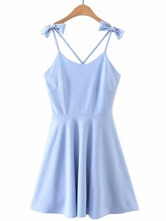 Criss Cross Back Cami Dress With Bow Detail