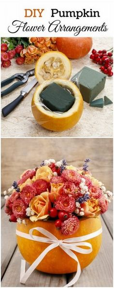 DIY Pumpkin Flower Arrangements. These pumpkin flower arrangements make…