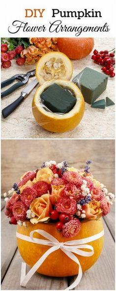 DIY Pumpkin Flower Arrangements. These pumpkin flower arrangements make…