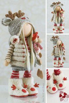 Interior Decor Doll, Tilda Rag Doll, Russian Art Doll, Winter Baby Doll Special Girl Gift Nursery Decor Doll Portrait Purple Doll by Alena R Innendekor Puppe Tilda Stoffpuppe Russische Kunstpuppe Winter Art Rouge, Red Art, Little Doll, Baby Art, Soft Dolls, Crochet Dolls, Crochet Clothes, Crochet Baby, Fabric Dolls
