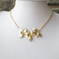 Gold Triple Orchid Necklace, Statement Necklace, Choker, Pendant Necklace, Wedding Necklace, Bridesmaid