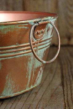 Metal  Tubs  Copper Verdigris 12.5  x 4 with Liner $9 each / 3 for $8 each