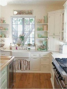Vintage-Inspired Cottage Kitchen with Farmhouse Sink + Soft Color Palette