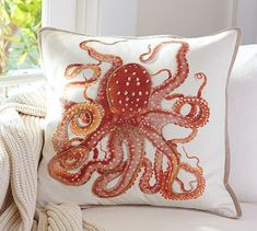La Paz Jeweled Octopus Pillow Covers | Pottery Barn. Reminds me of painted garden backgrounds with embroidery, same concept.