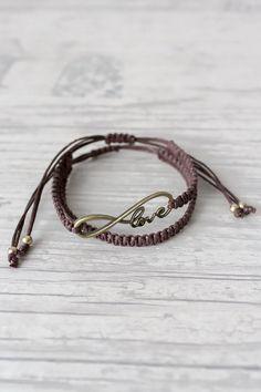 Mens bracelet Macrame bracelet Friendship bracelet set Infinity love bracelet Hippie gift Wowen bracelet Womens bracelets BFF bracelet by ElvishThings