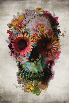 """Floral Skull"" Graphic/Illustration by Ali GULEC posters, art prints, canvas prints, greeting cards or gallery prints. Find more Graphic/Illustration art prints and posters in the ARTFLAKES shop. Los Muertos Tattoo, Capas Samsung, Catrina Tattoo, Aquarell Tattoo, Totenkopf Tattoos, Sugar Skull Tattoos, Sugar Skulls, Skull Candy Tattoo, Candy Skulls"
