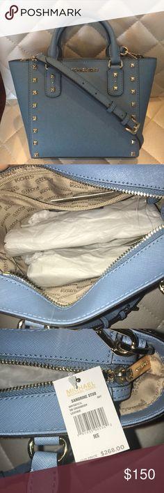 Michael Kors Sandrine Stud SM  Satchel/Crossbody Brand new... pretty baby blue with gold studs Michael Kors Bags Crossbody Bags