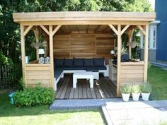 Ryan Shed Plans Shed Plans and Designs For Easy Shed Building! Patio Pergola, Garden Gazebo, Backyard Patio, Pergola Kits, Outdoor Rooms, Outdoor Gardens, Outdoor Living, Backyard Projects, Outdoor Projects