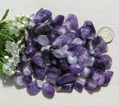 10 Amethyst Brazilian Crystal Tumblestones by SunnyCrystals, £3.50 #amethyst #crystals #violet #purple #chakra #chevron