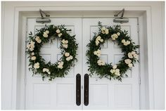 Meridian Mississippi June wedding at Midway Baptist Church and Northwood Country Club by Meridian Wedding Planner Southern Productions Greenery Wreath, Floral Wreath, Floral Wedding, Wedding Flowers, Meridian Mississippi, White Spray Roses, Wedding Doors, Wedding Wreaths, Wedding Planner