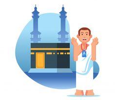 Male hajj pilgrimage pray near kaaba Premium Vector Islamic Art Pattern, Pattern Art, Hajj Pilgrimage, Hijab Drawing, Islamic Cartoon, Vector Free, Vector Stock, Islamic Images, Eid Mubarak
