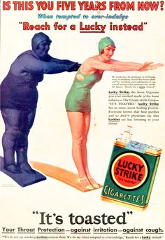 "Can you believe this vintage advertisement for cigarettes? Smoke and keep the pounds off! And read the bottom line.""Your Throat Protection - against irritation - against cough."" Cigarette companies need to be shot! Pub Vintage, Photo Vintage, Weird Vintage, Vintage Labels, Anti Tabaco, Vintage Cigarette Ads, Cigarette Brands, Old Advertisements, Oldschool"