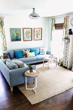 Summery living room. @Barn Light Electric Co. flush mount fixture