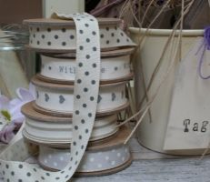 East of India cream ribbon with grey spots