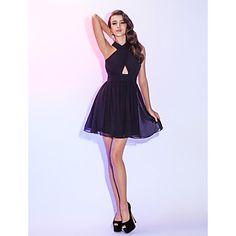 帰省カクテルパーティー/帰省/休日のドレス+-+黒プラスサイズラインホルターミニ/ショートシフォン+–+JPY+¥+10,445