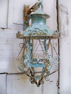 Shabby chic scroll work metal lantern candle holder with hanger ooak Anita Spero