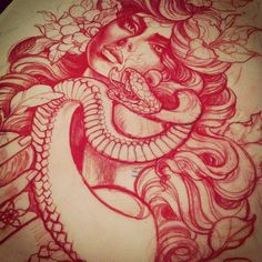 snake woman sketch by Taniele Sadd from Korpus Tattoo in Brunswick, Melbourne Tattoo Sketches, Drawing Sketches, Tattoo Drawings, Sketch Inspiration, Tattoo Inspiration, Medusa Tattoo, Flash Art, Neo Traditional Tattoo, Rose Tattoos