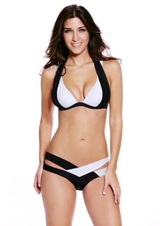 791391c3a7 Trendy Color Block Halter Contrast Cross Strap Push Up Padded Bikini  Bathing Suit Top