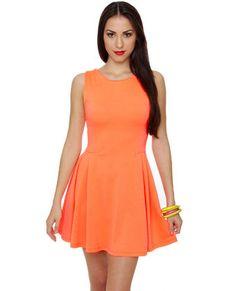 Glow with the Flow Neon Orange Dress, 34.00