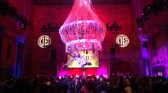 Aerial Artistry beautiful Chandelier Champagne Aerial Bartender at the corporate event at Cipriani 42 Street New York