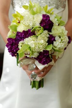 eggplant and lime flower wedding bouquet