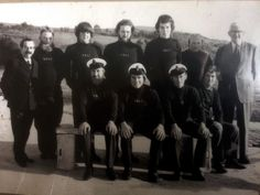 Salcombe Lifeboat crew. From left to right Top row: Bill Budgett, John Grundy, Ian Brodie, Andrew Burner, Brian Cooper, Frank Smith (Smee), Doctor Hammond. Lower row: Edward Hannaford, Graham Griffiths (Griff), Brian Cater (Horse), Peter Taylor.