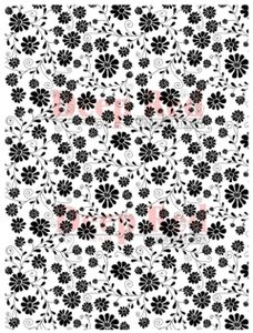 Daisy Print Background Rubber Stamp - Deep Red Stamps