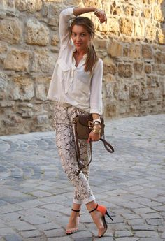 Zara  Shirt / Blouses, H  Pants and Zara  Heels / Wedges