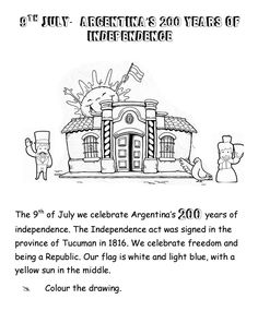 Worksheet Argentina's independence day. 200years of independence. Worksheet for kids. School worksheet.