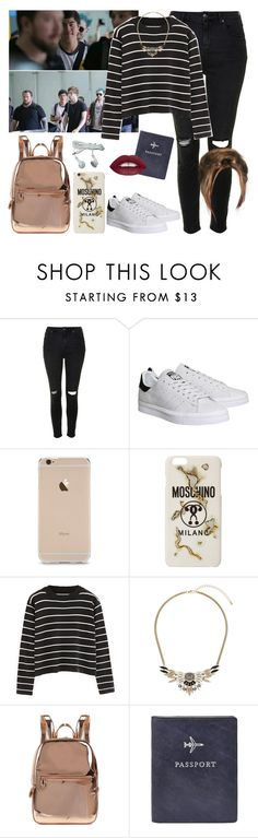 """Jakarta with the guys. -----> *Cynthia."" by imaginegirlsdsos ❤ liked on Polyvore featuring Topshop, adidas, Moschino, Chicnova Fashion, DKNY and FOSSIL"