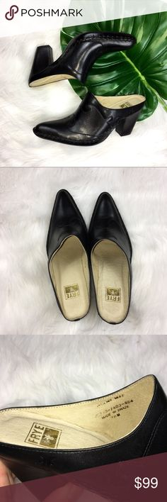 Frye Black Phoenix Mules Frye Black Leather Phoenix Mules. Size 7 1/2. Pre-owned condition with light wear. Worn only a few times. If you look closely it does have some streaks from cleaning but you have to look closely to see them. No box included. ❌I do not Trade  Or model Posh Transactions ONLY Frye Shoes Mules & Clogs