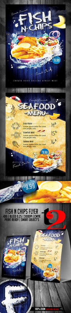 Fish N Chips #Flyer Template - Restaurant #Flyers Download here: https://graphicriver.net/item/fish-n-chips-flyer-template/20113395?ref=alena994